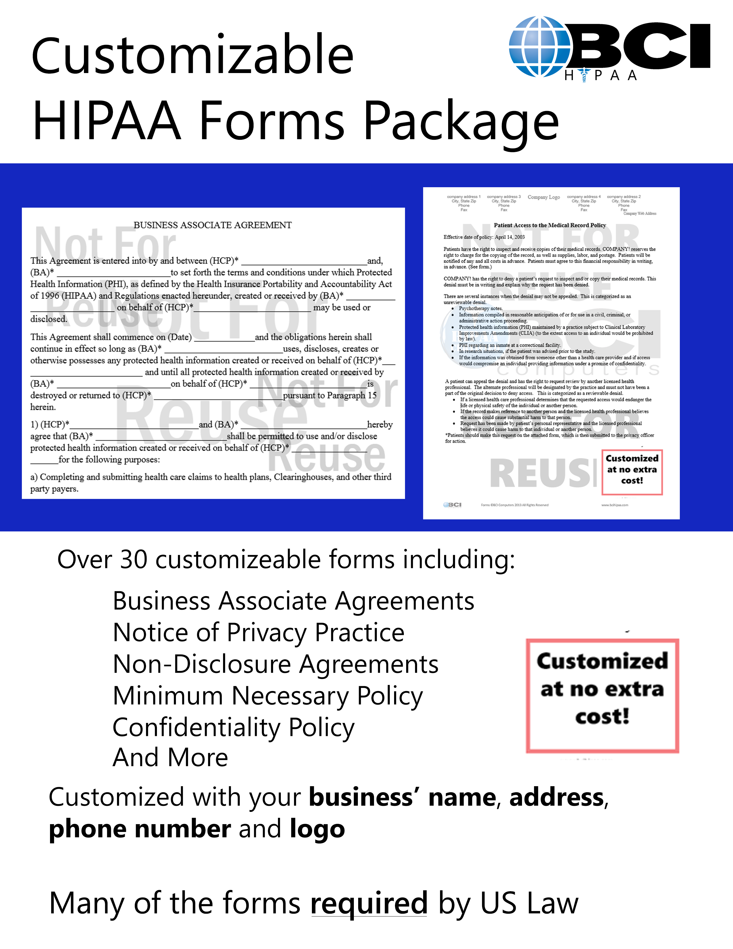 HIPAA Customized Forms with Policies 2016 - BCI Computers